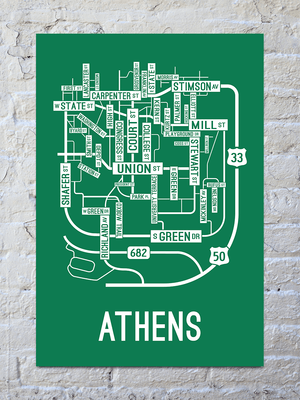 Athens, Ohio Street Map Print