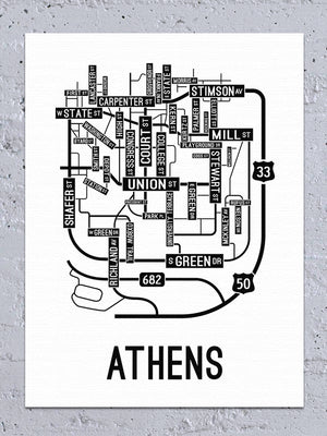 Athens, Ohio Street Map Canvas
