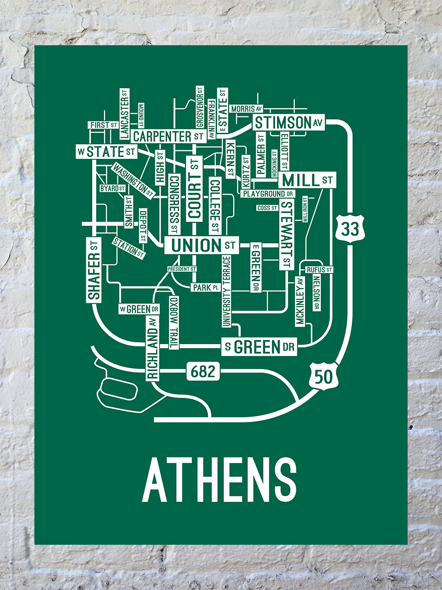 Athens, Ohio Street Map Large Poster