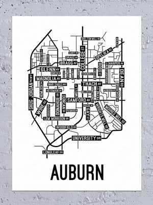 Auburn, Alabama Street Map Canvas