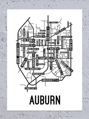 Auburn, Alabama Street Map Large Poster