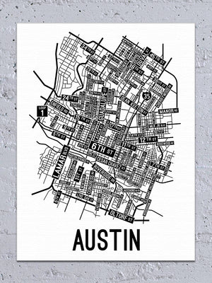 Austin, Texas Street Map Canvas