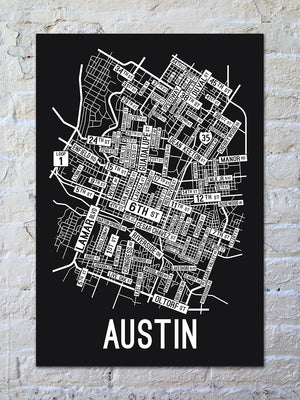 Austin, Texas Street Map Screen Print