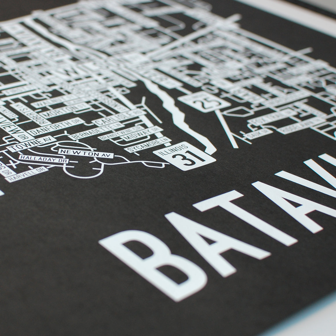 Batavia, Illinois Street Map Screen Print