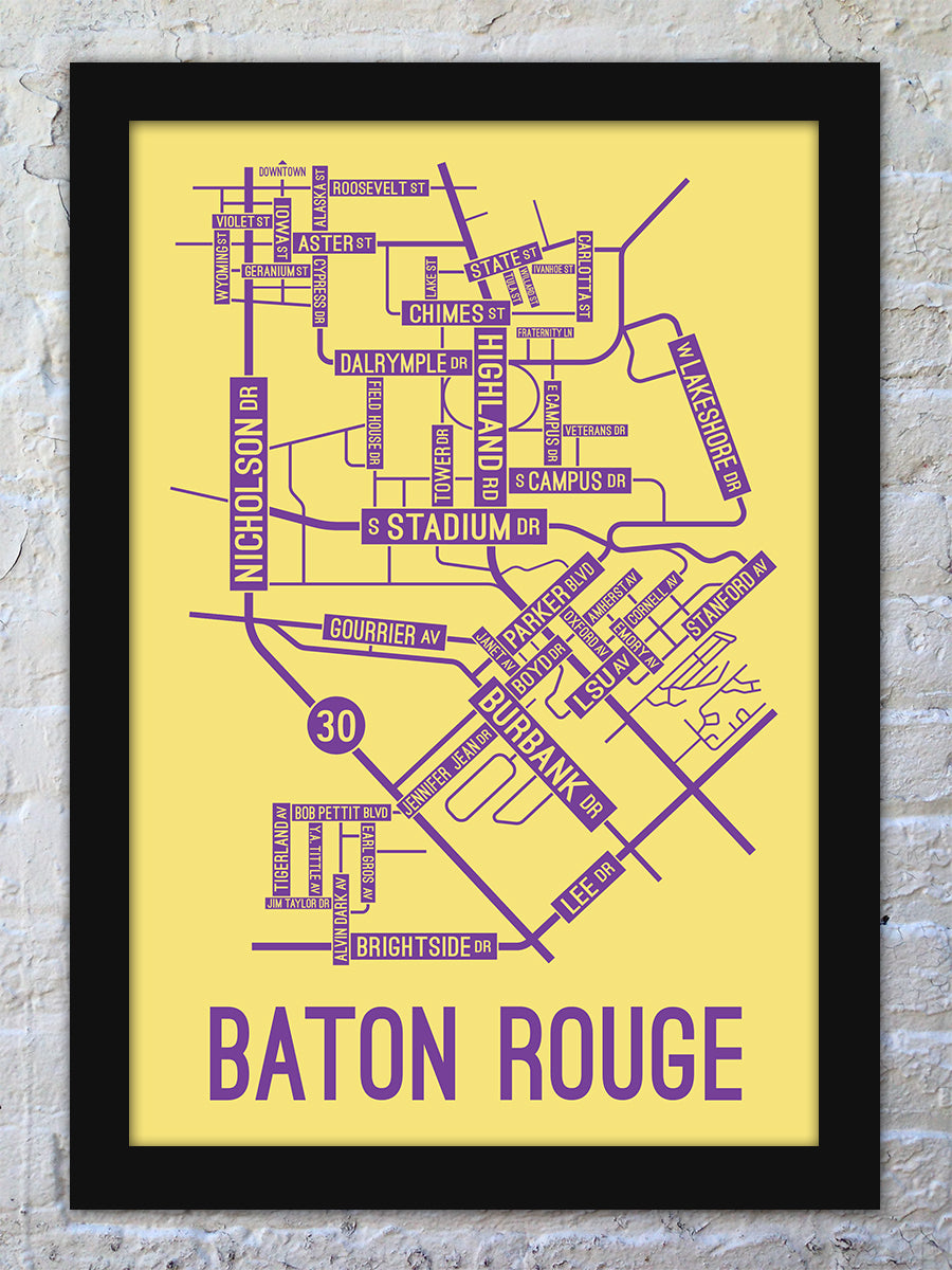 Baton Rouge, Louisiana Street Map Screen Print