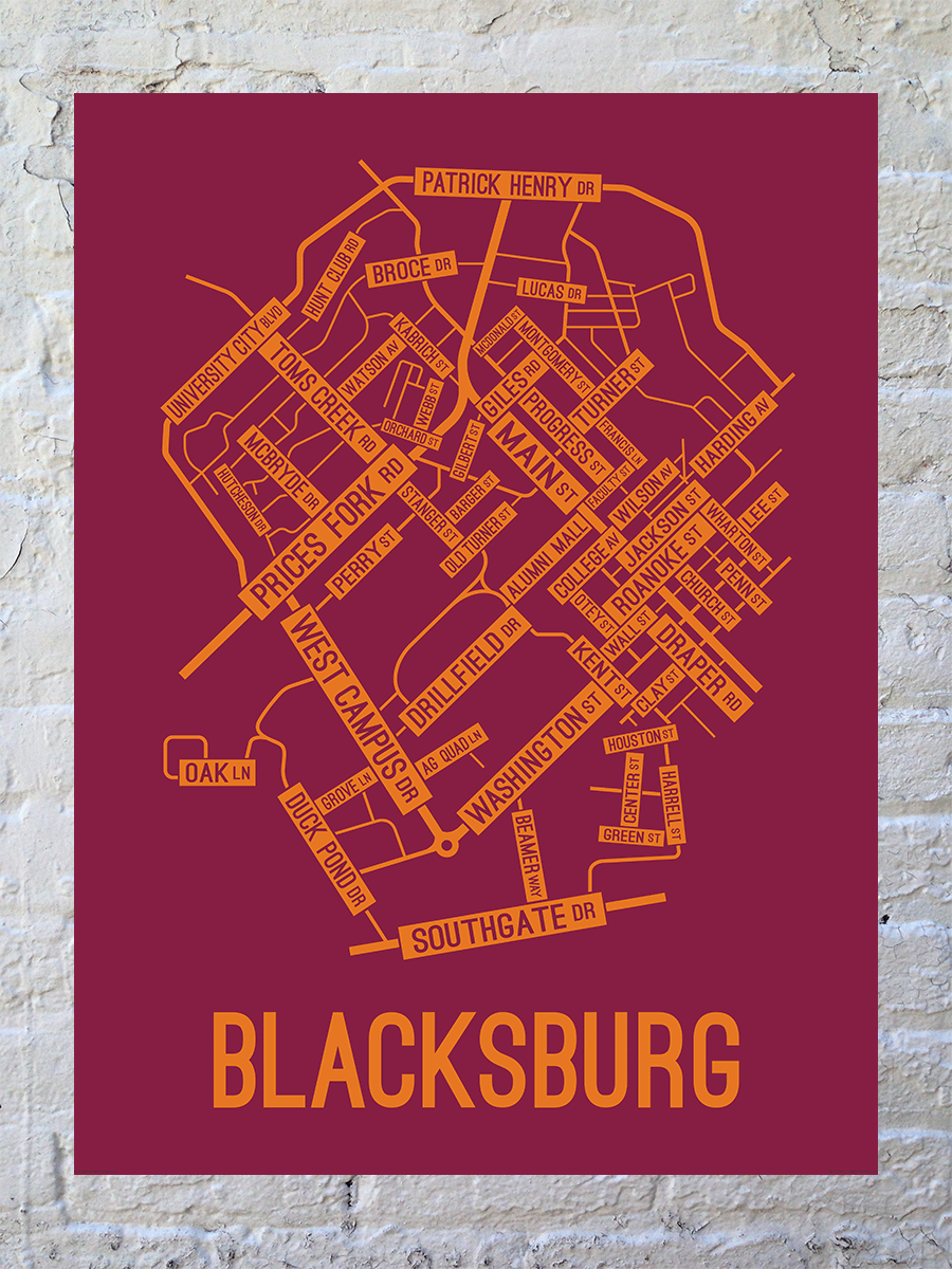 Blacksburg, Virginia Street Map Large Poster