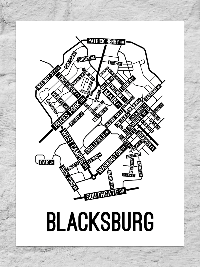 Blacksburg, Virginia Street Map Canvas