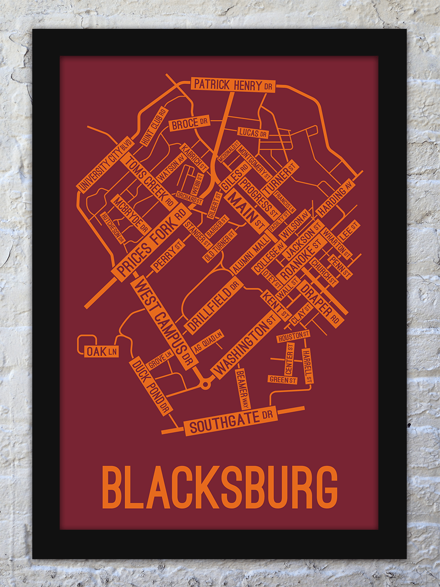 Blacksburg, Virginia Street Map Print