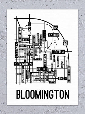 Bloomington, Indiana Street Map Canvas