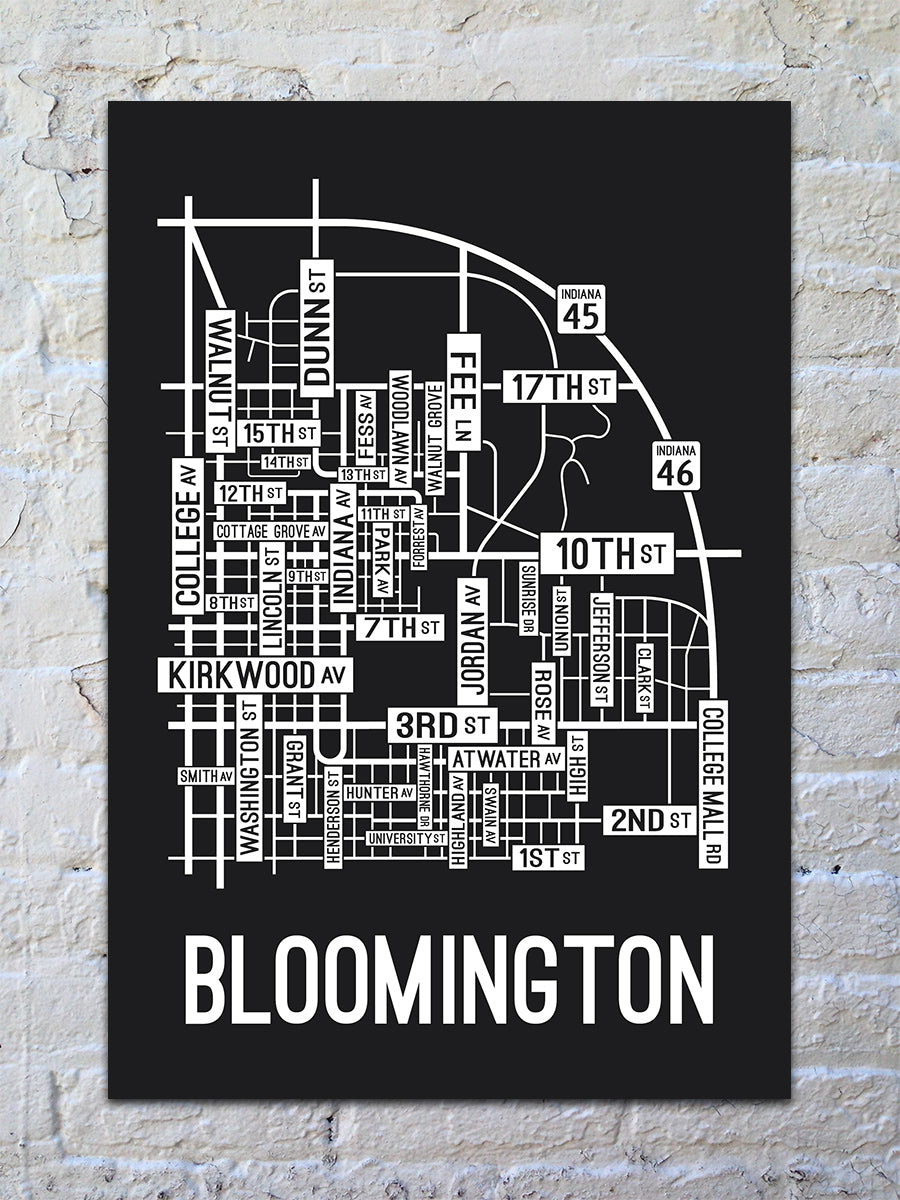 Bloomington, Indiana Street Map Print