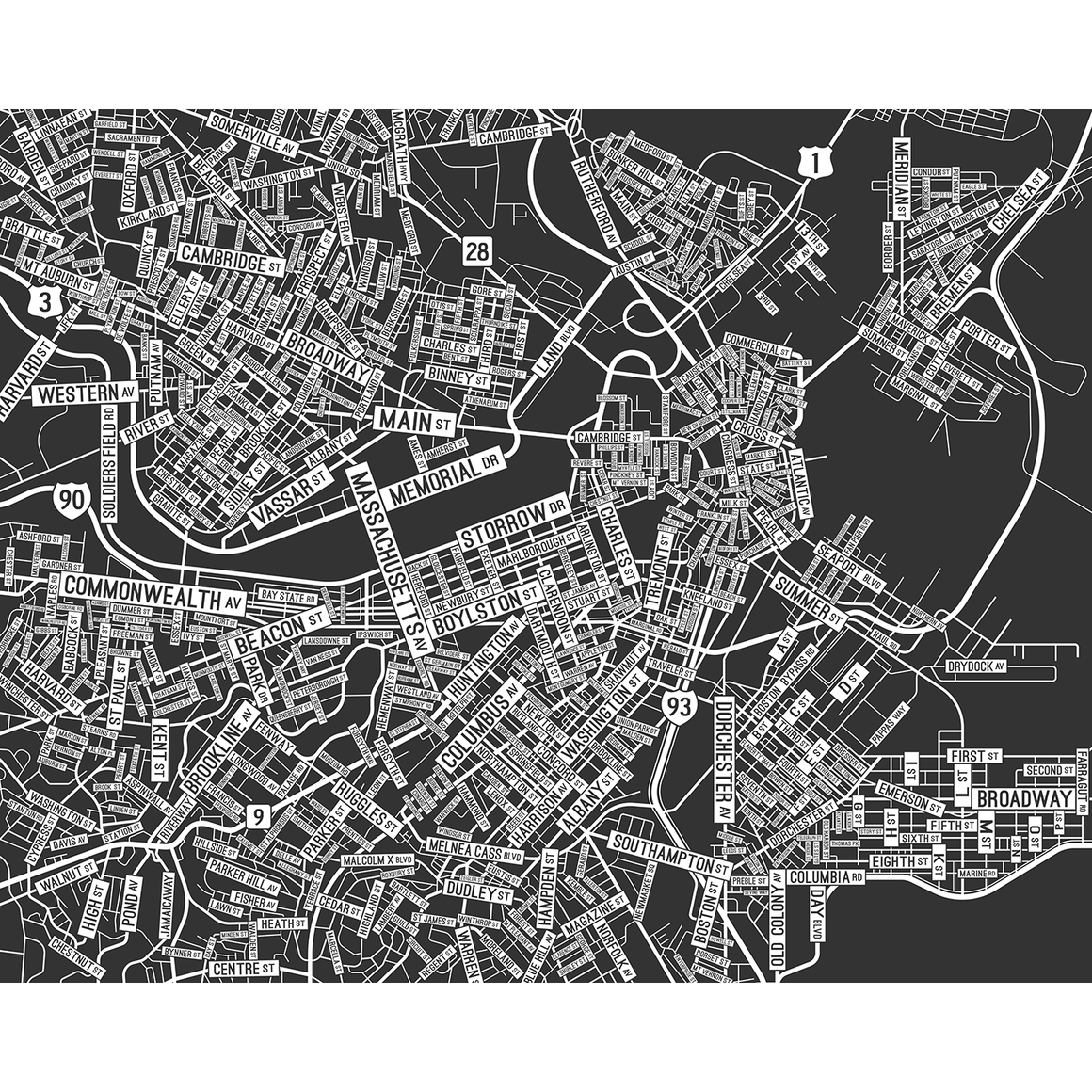 "Boston, Massachusetts Street Map Poster - 24"" x 30"""