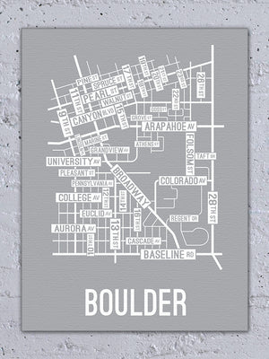 Boulder, Colorado Street Map Canvas