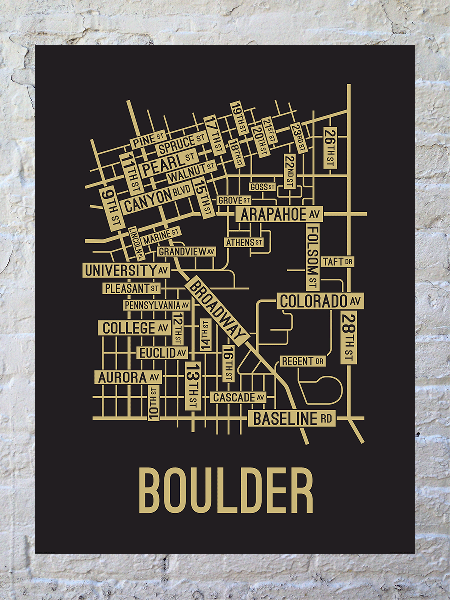 Boulder, Colorado Street Map Large Poster