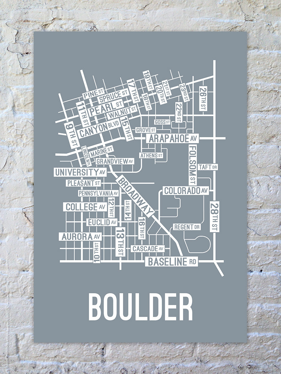 Boulder Colorado Street Map Print School Street Posters - Us college map poster