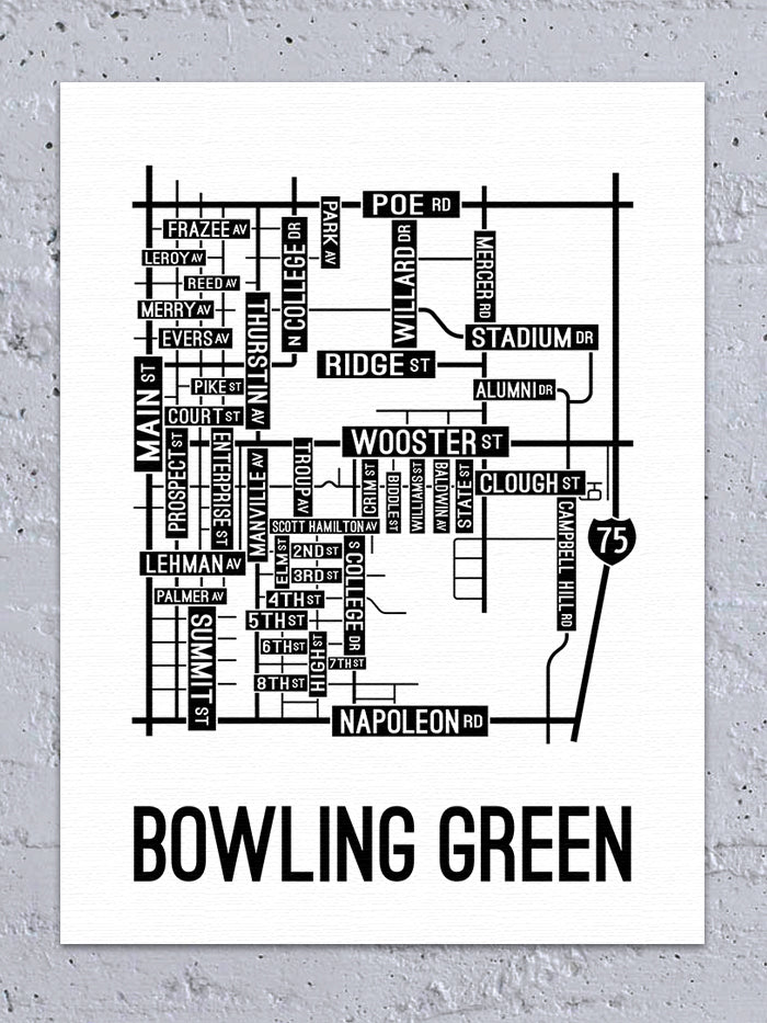 Bowling Green, Ohio Street Map Canvas