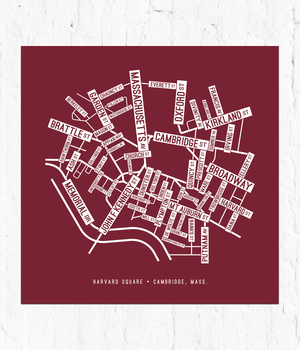 Harvard Square, Cambridge Street Map Screen Print