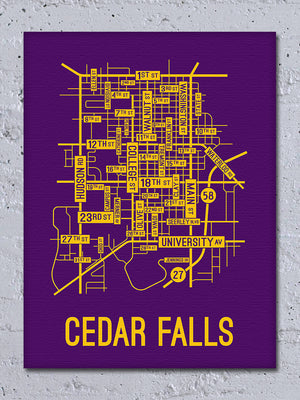 Cedar Falls, Iowa Street Map Canvas