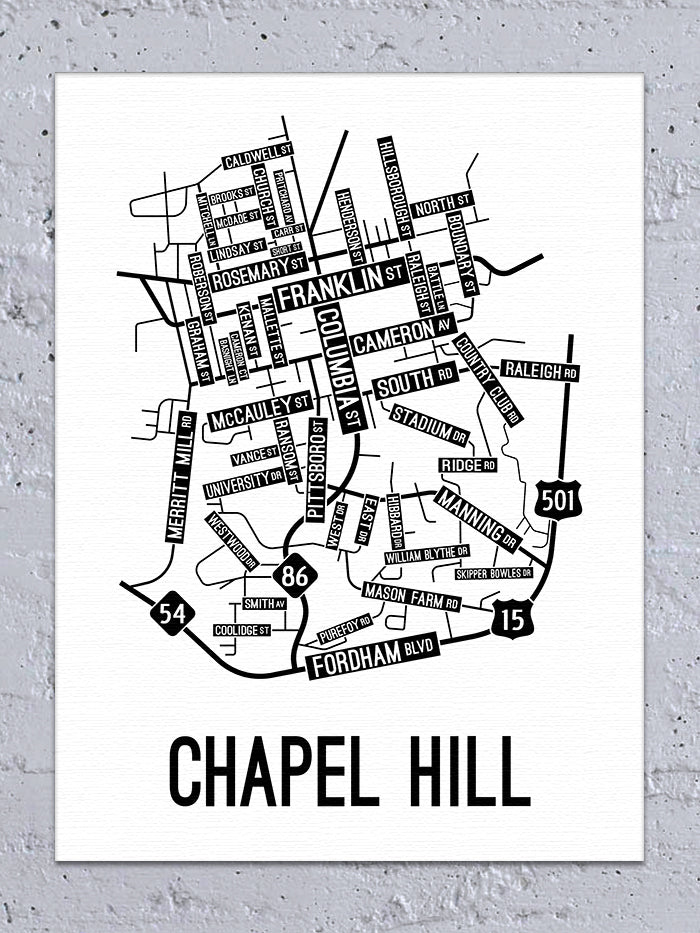 Chapel Hill, North Carolina Street Map Canvas