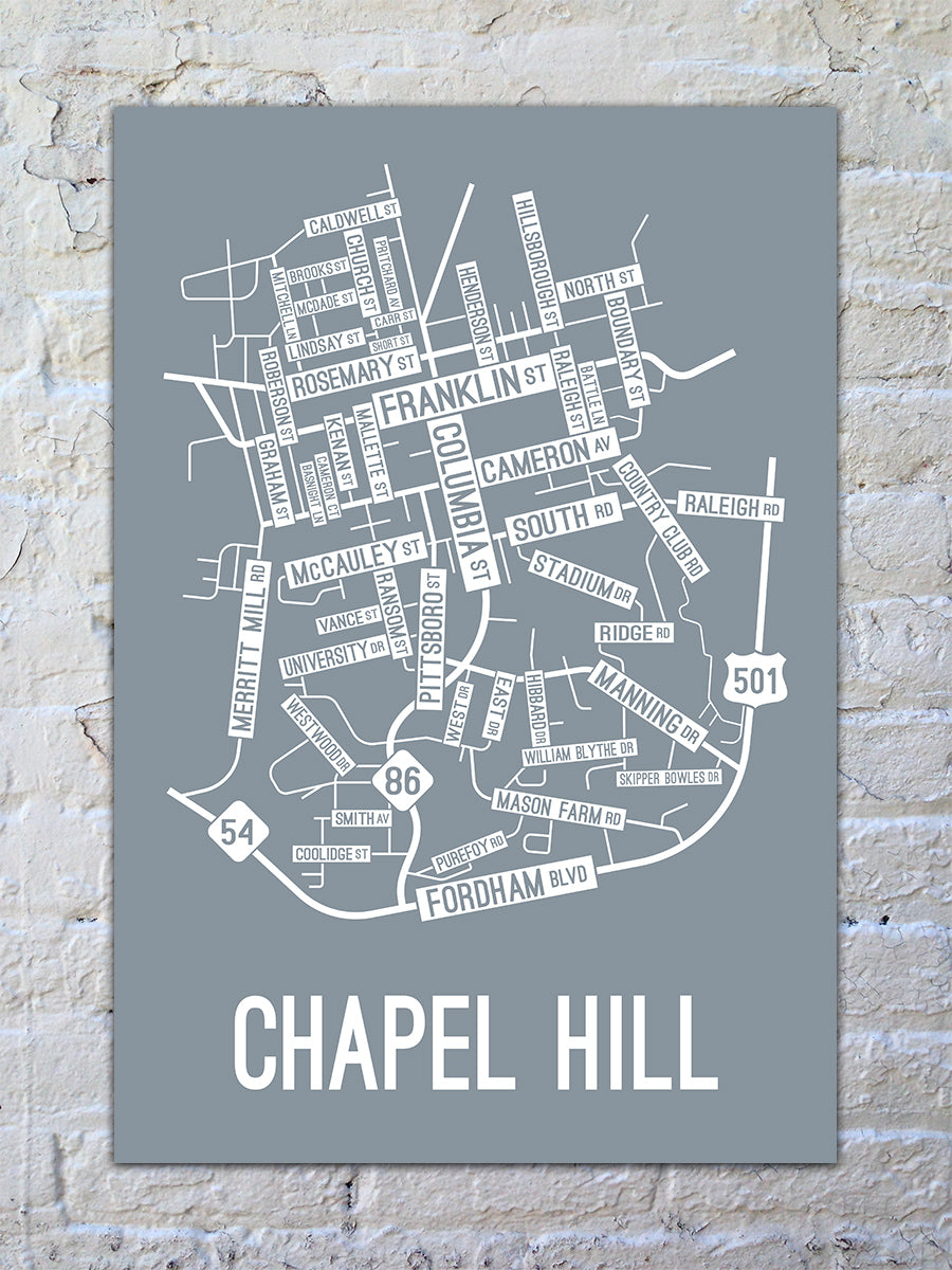 Chapel Hill, North Carolina Street Map Print