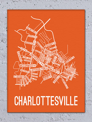 Charlottesville, Virginia Street Map Canvas