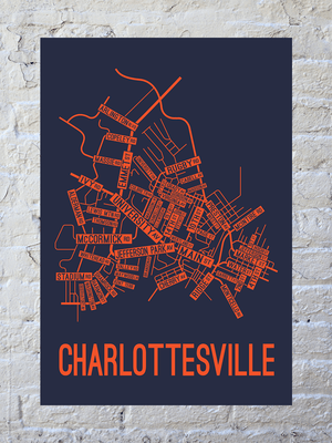 Charlottesville, Virginia Street Map Print