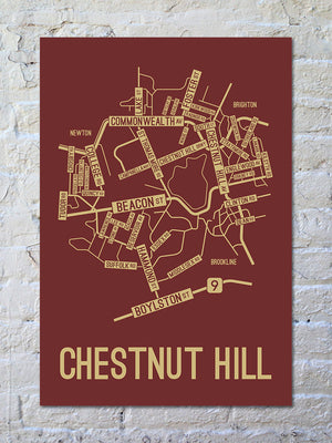 Chestnut Hill, Massachusetts Street Map Print