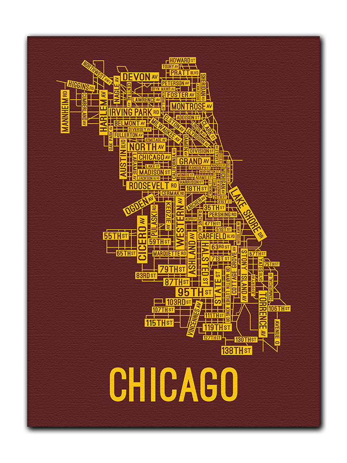 Chicago Map Canvas.Chicago Illinois Street Map Canvas School Street Posters