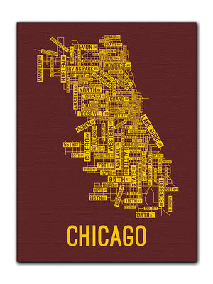 Chicago, Illinois Street Map Canvas