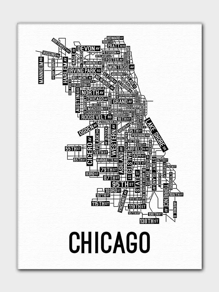Chicago, Illinois Street Map Canvas - School Street Posters