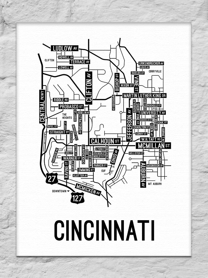 Cincinnati, Ohio Street Map Canvas