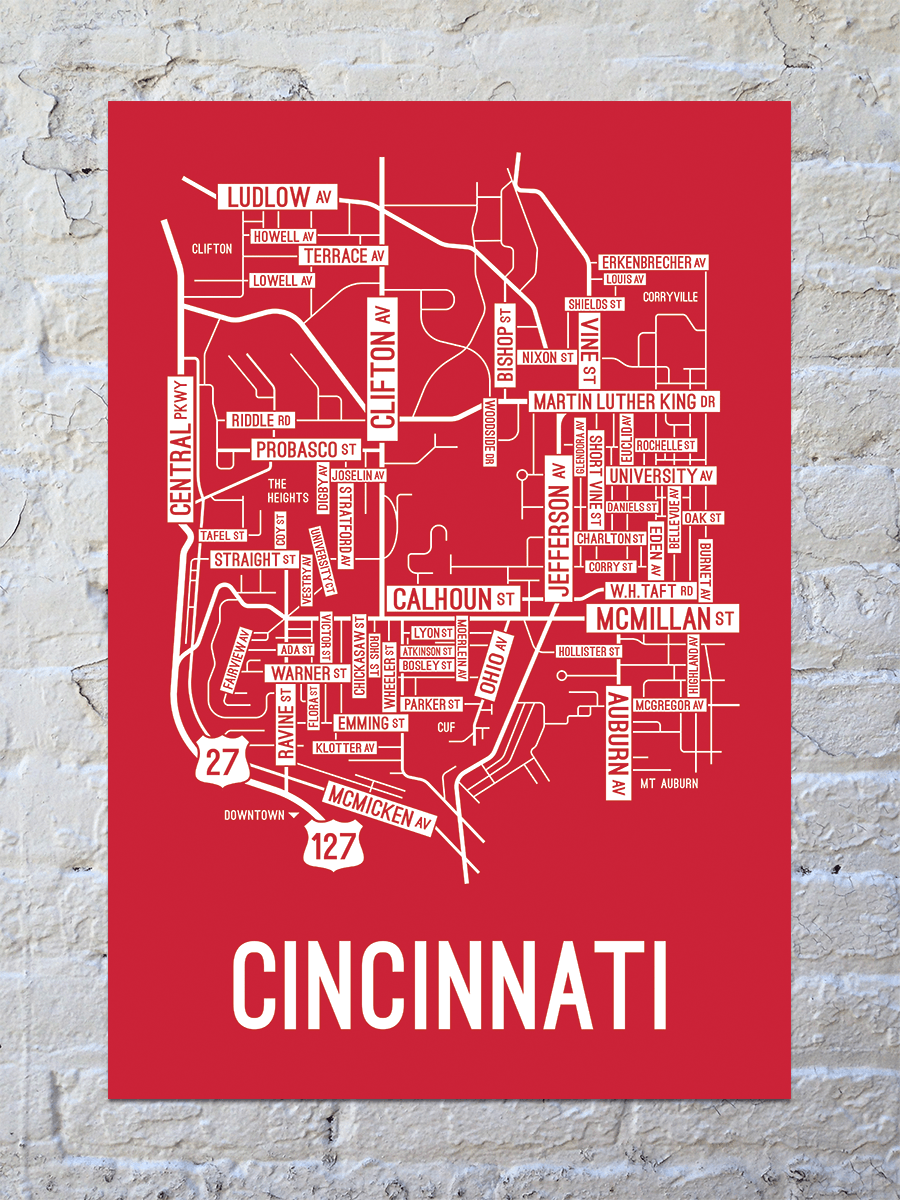 Cincinnati, Ohio Street Map Print