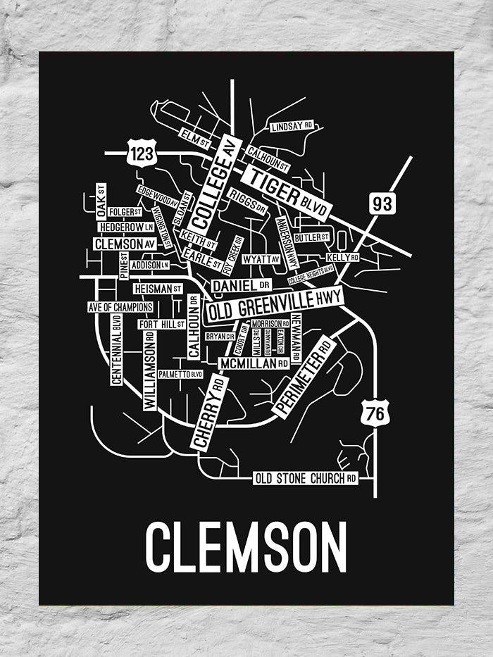 Clemson, South Carolina Street Map Large Poster