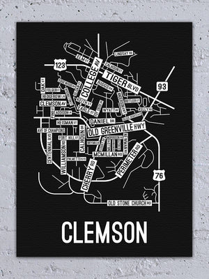Clemson, South Carolina Street Map Canvas