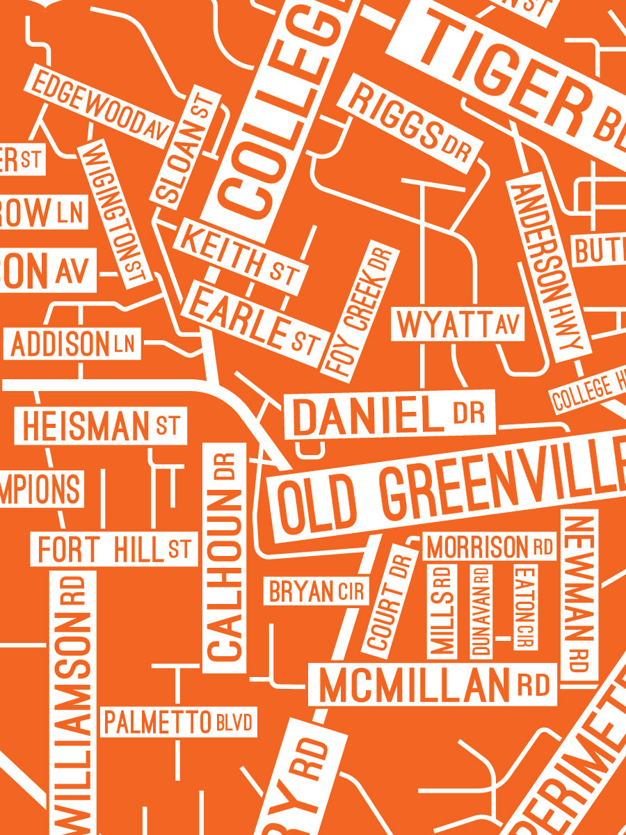 Clemson, South Carolina Street Map Print