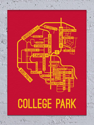 College Park, Maryland Street Map Canvas