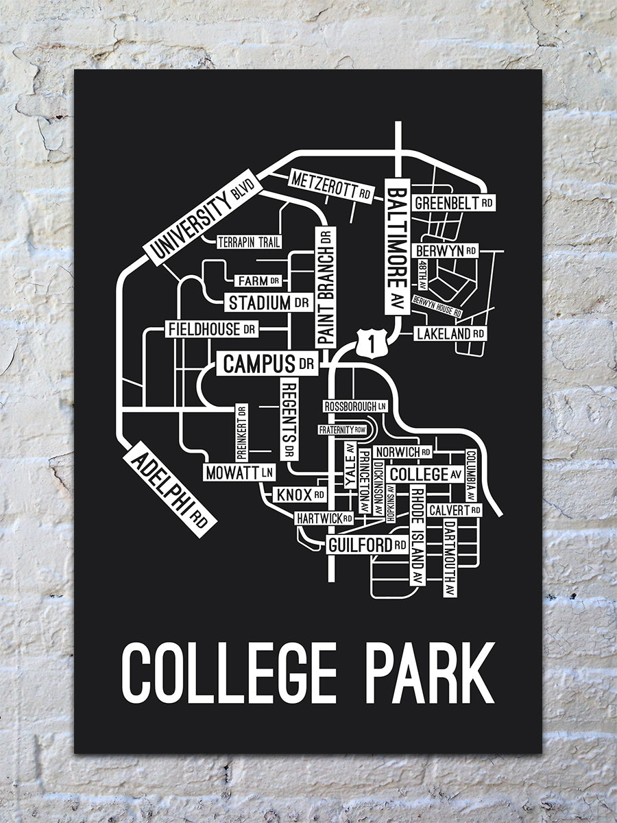 College Park, Maryland Street Map Print