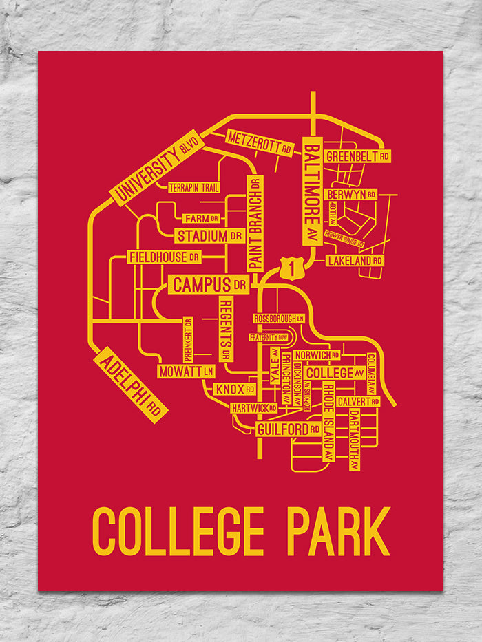 College Park, Maryland Street Map Large Poster