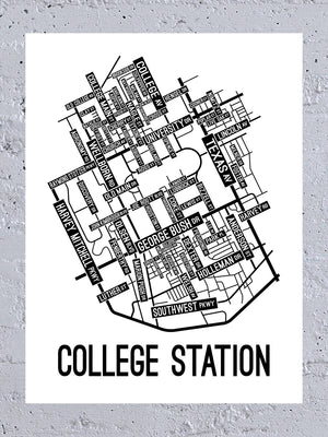 College Station, Texas Street Map Canvas