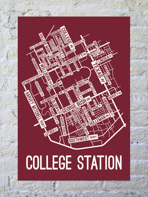 College Station, Texas Street Map Print