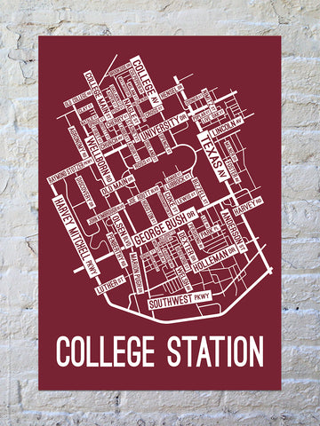 College Station Texas Street Map Canvas School Street Posters - Us college map poster