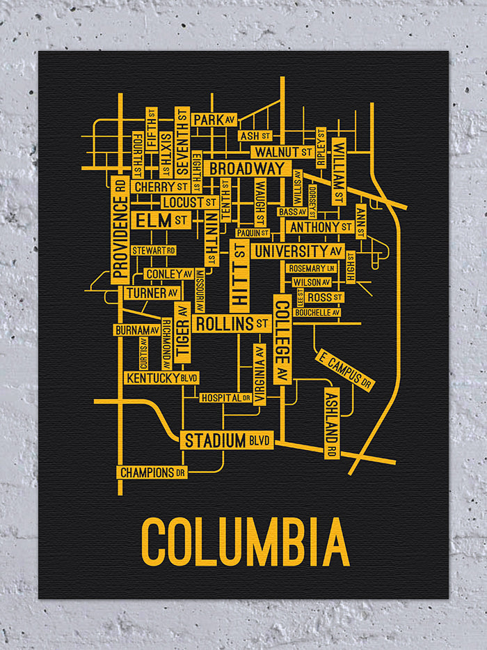 Columbia, Missouri Street Map Canvas