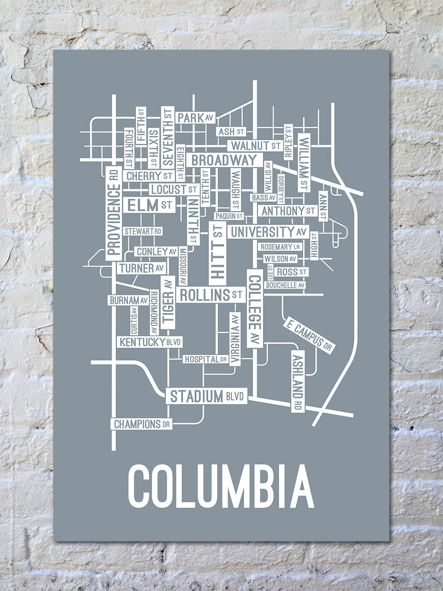 Columbia, Missouri Street Map Print