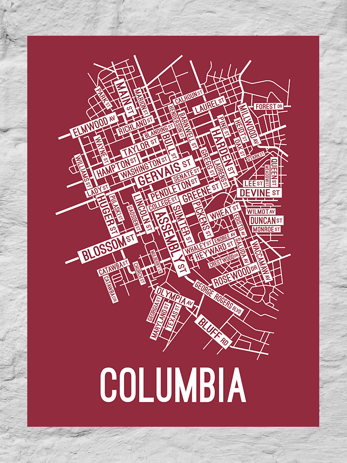 Columbia, South Carolina Street Map Large Poster