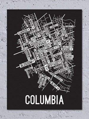 Columbia, South Carolina Street Map Canvas