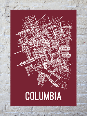 Columbia, South Carolina Street Map Print