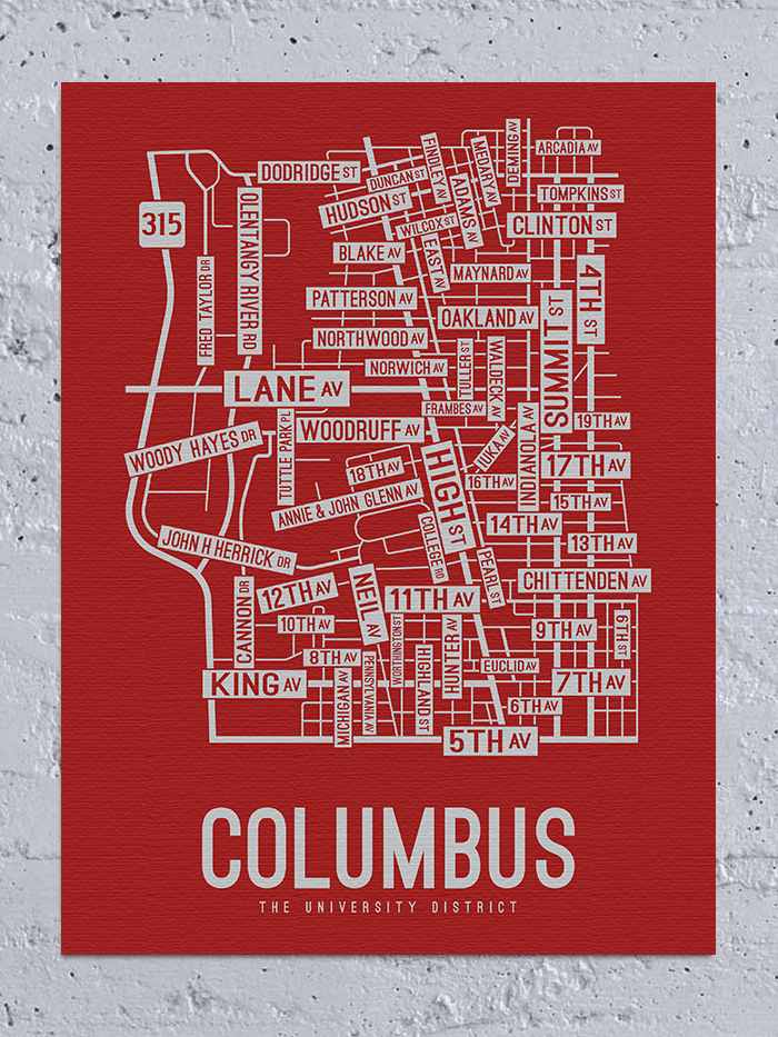 Columbus, Ohio Street Map Canvas