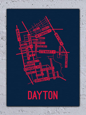 Dayton, Ohio Street Map Canvas