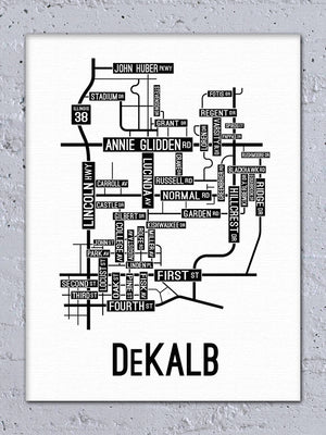 DeKalb, Illinois Street Map Canvas