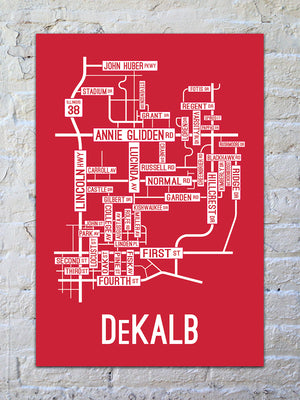 DeKalb, Illinois Street Map Print