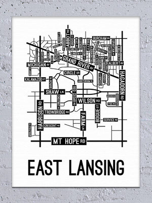 East Lansing, Michigan Street Map Canvas